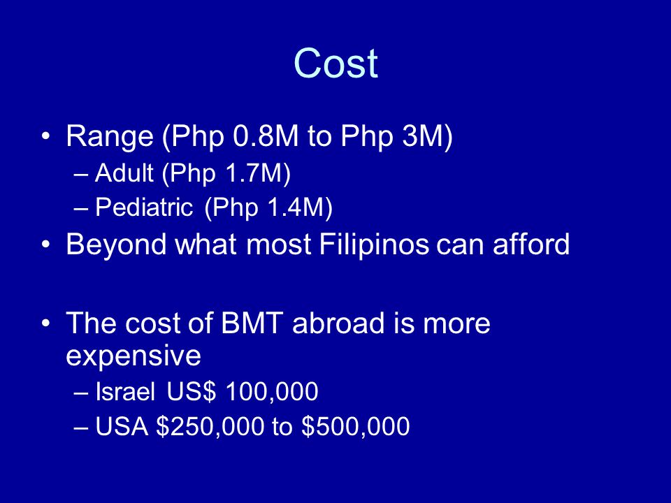 Cost Range (Php 0.8M to Php 3M) –Adult (Php 1.7M) –Pediatric (Php 1.4M) Beyond what most Filipinos can afford The cost of BMT abroad is more expensive –Israel US$ 100,000 –USA $250,000 to $500,000