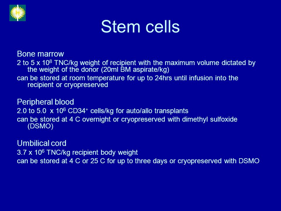Stem cells Bone marrow 2 to 5 x 10 8 TNC/kg weight of recipient with the maximum volume dictated by the weight of the donor (20ml BM aspirate/kg) can