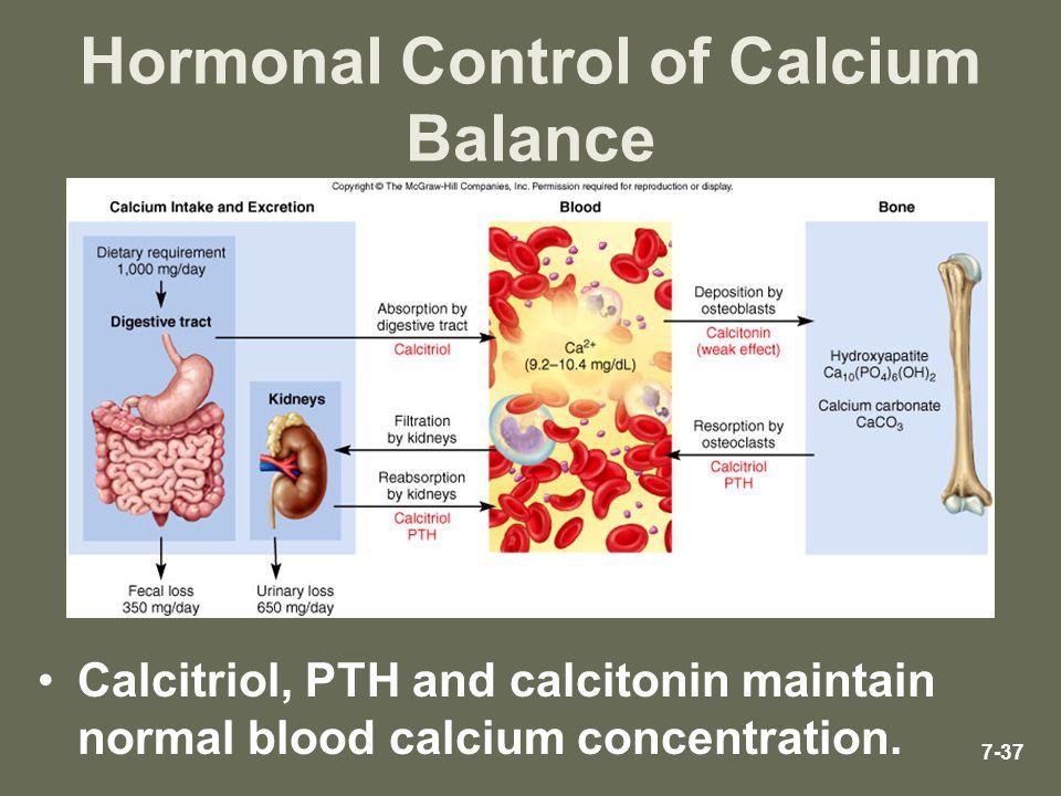 7-37 Hormonal Control of Calcium Balance Calcitriol, PTH and calcitonin maintain normal blood calcium concentration.