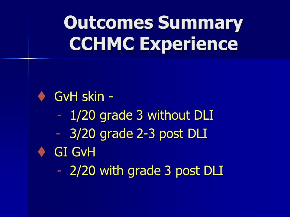 Outcomes Summary CCHMC Experience  GvH skin - - 1/20 grade 3 without DLI - 1/20 grade 3 without DLI - 3/20 grade 2-3 post DLI - 3/20 grade 2-3 post DLI  GI GvH - 2/20 with grade 3 post DLI - 2/20 with grade 3 post DLI