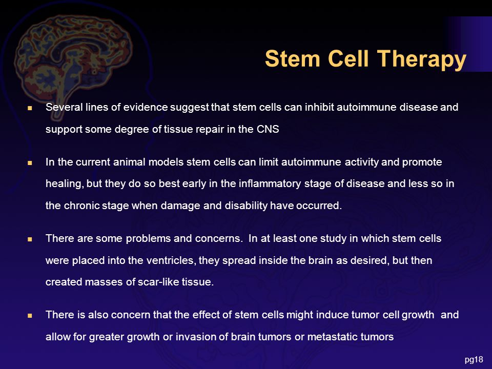 Stem Cell Therapy n Several lines of evidence suggest that stem cells can inhibit autoimmune disease and support some degree of tissue repair in the CNS n In the current animal models stem cells can limit autoimmune activity and promote healing, but they do so best early in the inflammatory stage of disease and less so in the chronic stage when damage and disability have occurred.