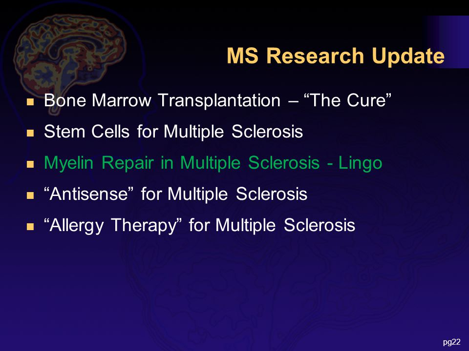 "MS Research Update n Bone Marrow Transplantation – ""The Cure"" n Stem Cells for Multiple Sclerosis n Myelin Repair in Multiple Sclerosis - Lingo n ""Ant"