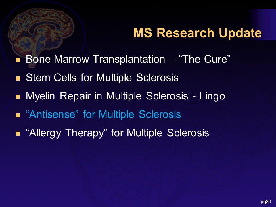 MS Research Update n Bone Marrow Transplantation – The Cure n Stem Cells for Multiple Sclerosis n Myelin Repair in Multiple Sclerosis - Lingo n Antisense for Multiple Sclerosis n Allergy Therapy for Multiple Sclerosis pg30