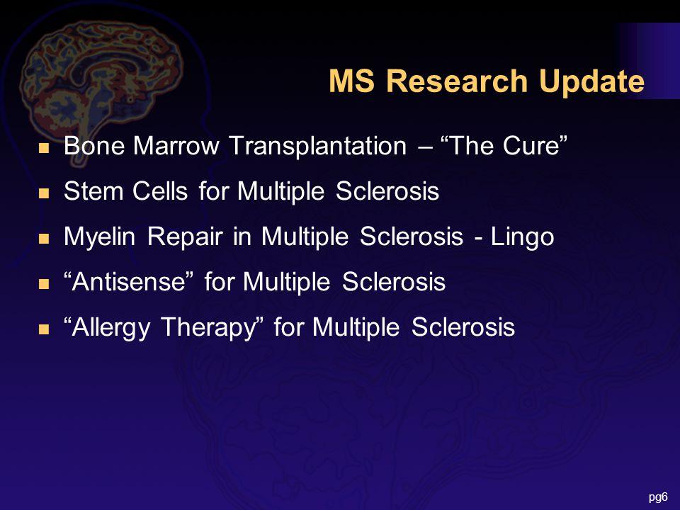 MS Research Update n Bone Marrow Transplantation – The Cure n Stem Cells for Multiple Sclerosis n Myelin Repair in Multiple Sclerosis - Lingo n Antisense for Multiple Sclerosis n Allergy Therapy for Multiple Sclerosis pg6
