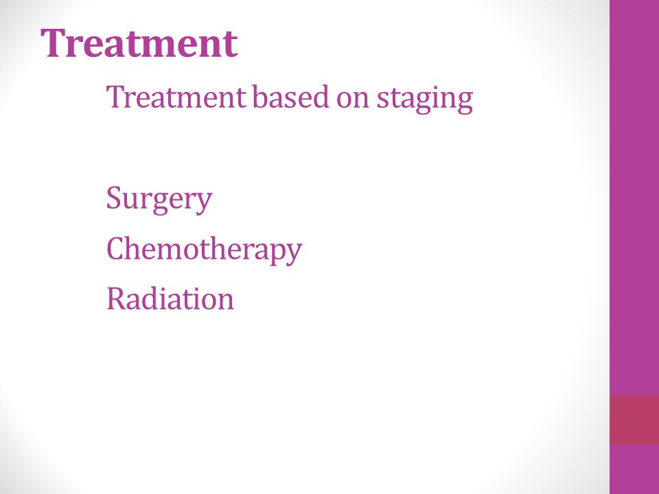 Treatment Treatment based on staging Surgery Chemotherapy Radiation
