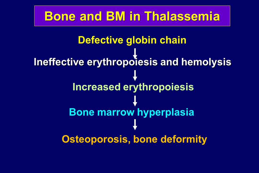 BMD in Thalassemia: Effects of BMT A cross-sectional study in 33 patients post-BMTA cross-sectional study in 33 patients post-BMT BMD was improved following BMTBMD was improved following BMT Patients transplanted for >6 y had higher absolute BMD values as compared to those with shorter post-transplant durationPatients transplanted for >6 y had higher absolute BMD values as compared to those with shorter post-transplant duration Leung et al, Bone Marrow Transplant 2005;36:331