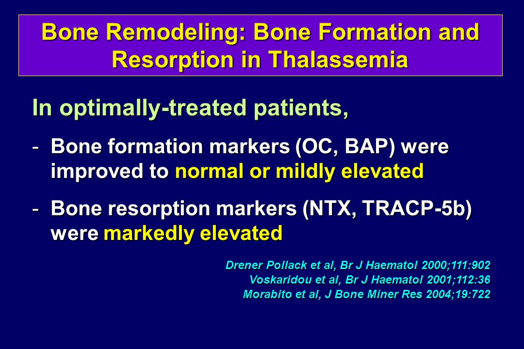 Bone Remodeling: Bone Formation and Resorption in Thalassemia In optimally-treated patients, -Bone formation markers (OC, BAP) were improved to normal or mildly elevated -Bone resorption markers (NTX, TRACP-5b) were markedly elevated Drener Pollack et al, Br J Haematol 2000;111:902 Voskaridou et al, Br J Haematol 2001;112:36 Morabito et al, J Bone Miner Res 2004;19:722