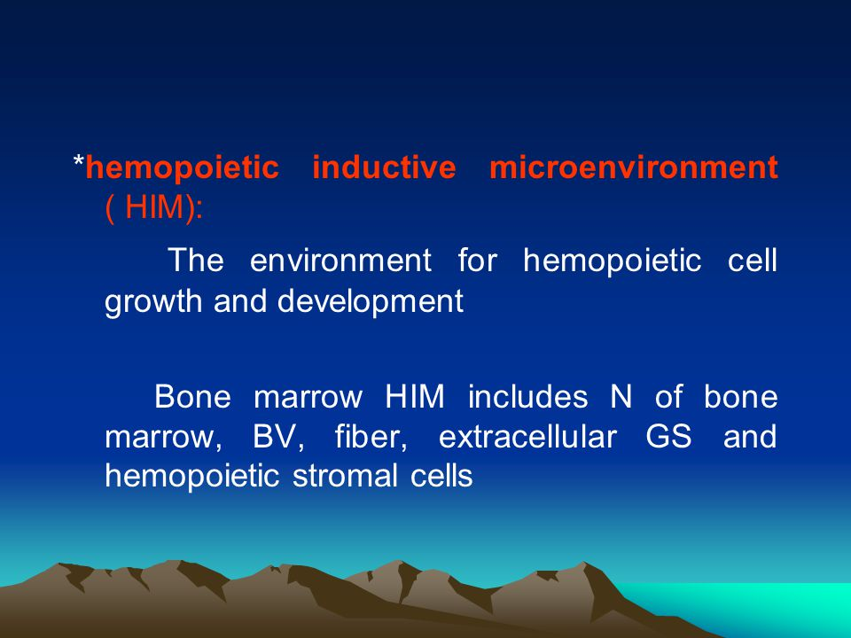 *hemopoietic inductive microenvironment ( HIM): The environment for hemopoietic cell growth and development Bone marrow HIM includes N of bone marrow, BV, fiber, extracellular GS and hemopoietic stromal cells
