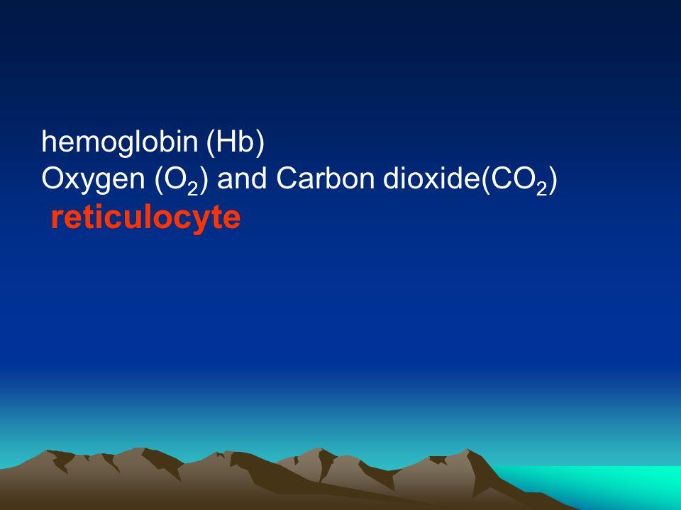 hemoglobin (Hb) Oxygen (O 2 ) and Carbon dioxide(CO 2 ) reticulocyte