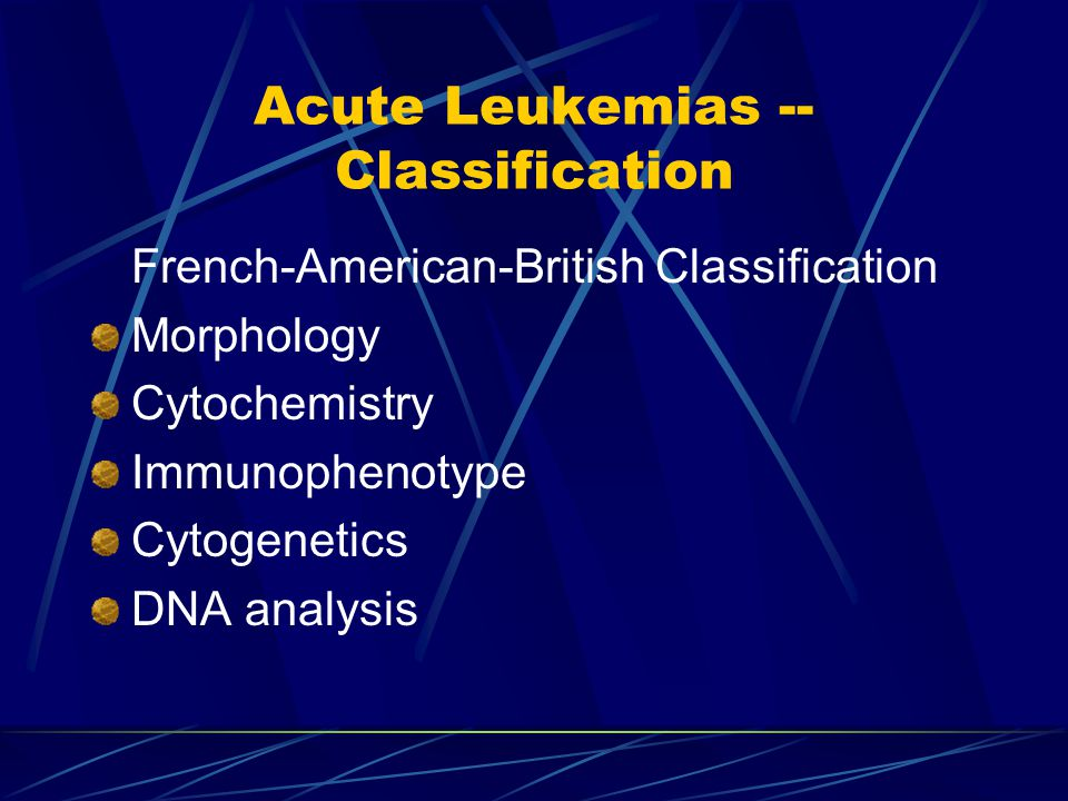 Examples AML Promyelocytic Myelomonocytic Monocytic Erythroid Megakeryoblastic Undifferentiated ….