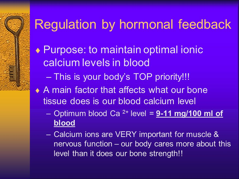 Regulation by hormonal feedback  Purpose: to maintain optimal ionic calcium levels in blood –This is your body's TOP priority!!!  A main factor that