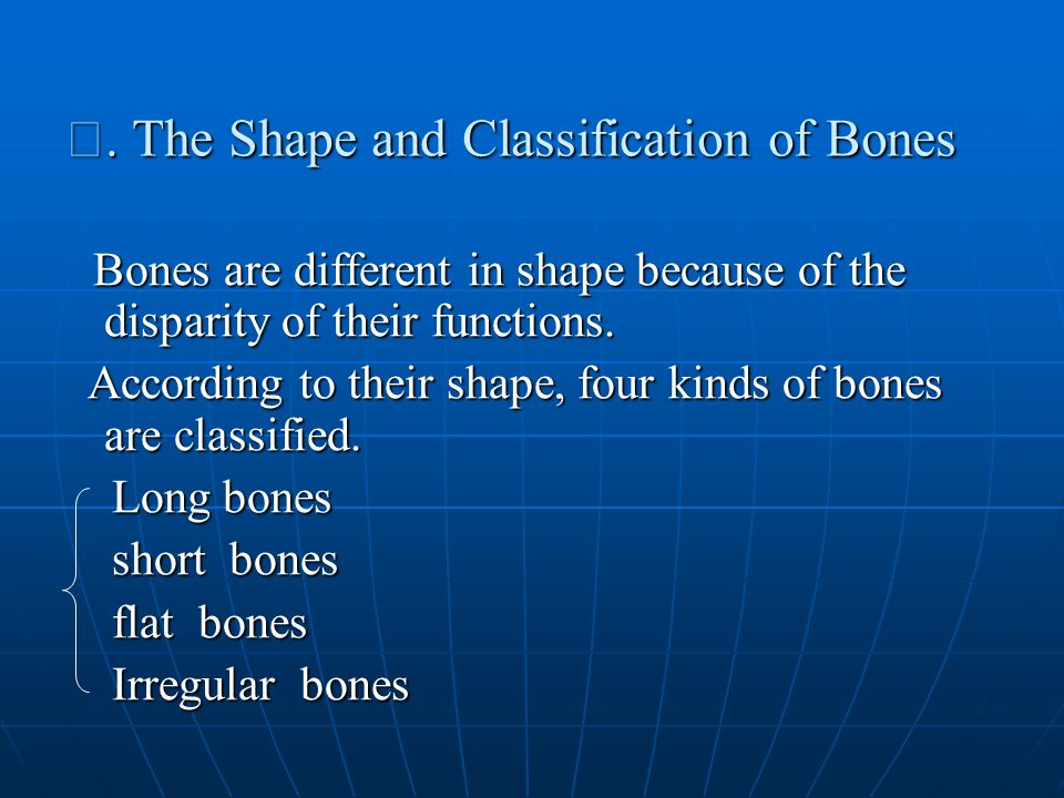 Ⅰ. The Shape and Classification of Bones Bones are different in shape because of the disparity of their functions. Bones are different in shape becaus