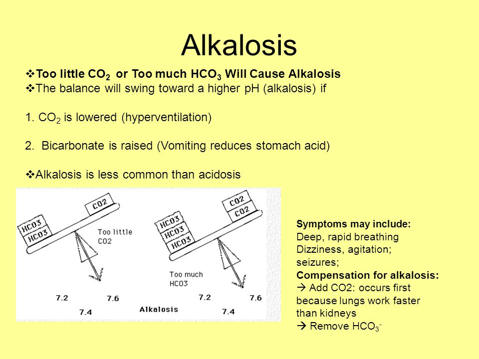 Alkalosis  Too little CO 2 or Too much HCO 3 Will Cause Alkalosis  The balance will swing toward a higher pH (alkalosis) if 1. CO 2 is lowered (hype