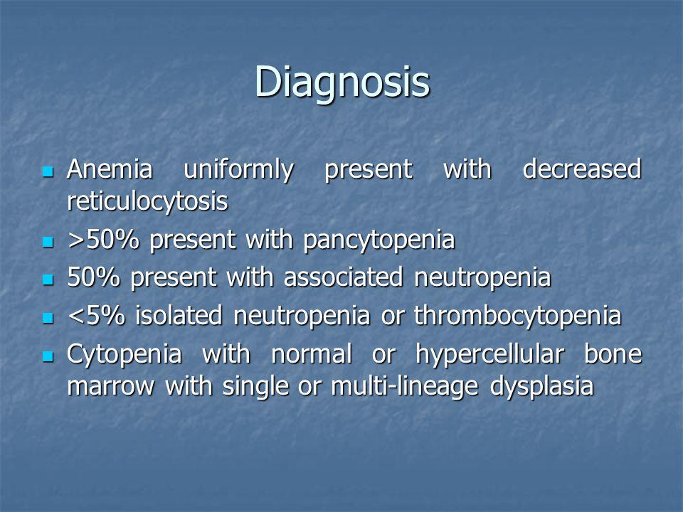 Diagnosis Anemia uniformly present with decreased reticulocytosis Anemia uniformly present with decreased reticulocytosis >50% present with pancytopen