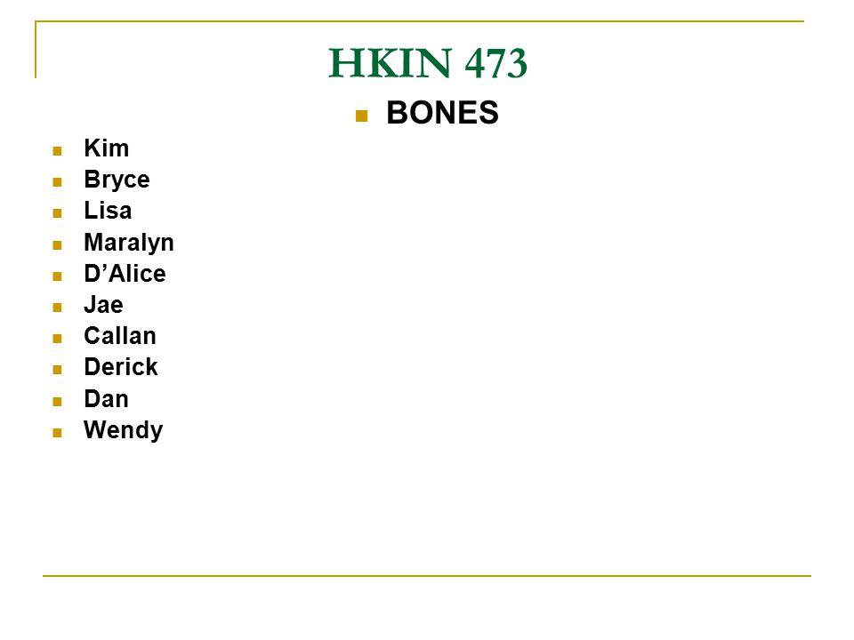 HKIN 473 BONES Kim Bryce Lisa Maralyn D'Alice Jae Callan Derick Dan Wendy
