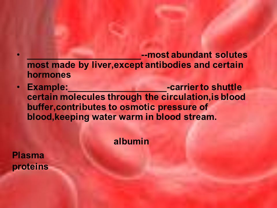______________________--most abundant solutes most made by liver,except antibodies and certain hormones Example:___________________-carrier to shuttle certain molecules through the circulation,is blood buffer,contributes to osmotic pressure of blood,keeping water warm in blood stream.