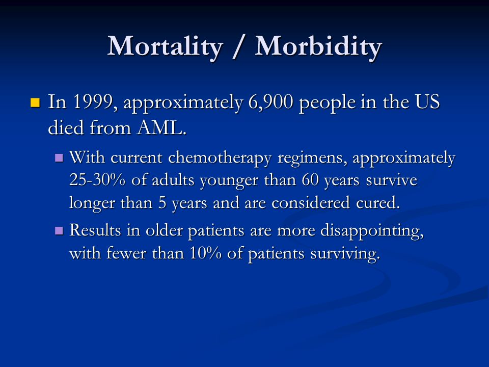 Mortality / Morbidity In 1999, approximately 6,900 people in the US died from AML. In 1999, approximately 6,900 people in the US died from AML. With c