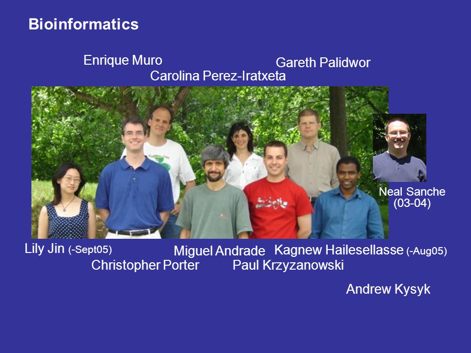 Bioinformatics Miguel Andrade Enrique Muro Gareth Palidwor Carolina Perez-Iratxeta Lily Jin (-Sept05) Christopher PorterPaul Krzyzanowski Kagnew Haile