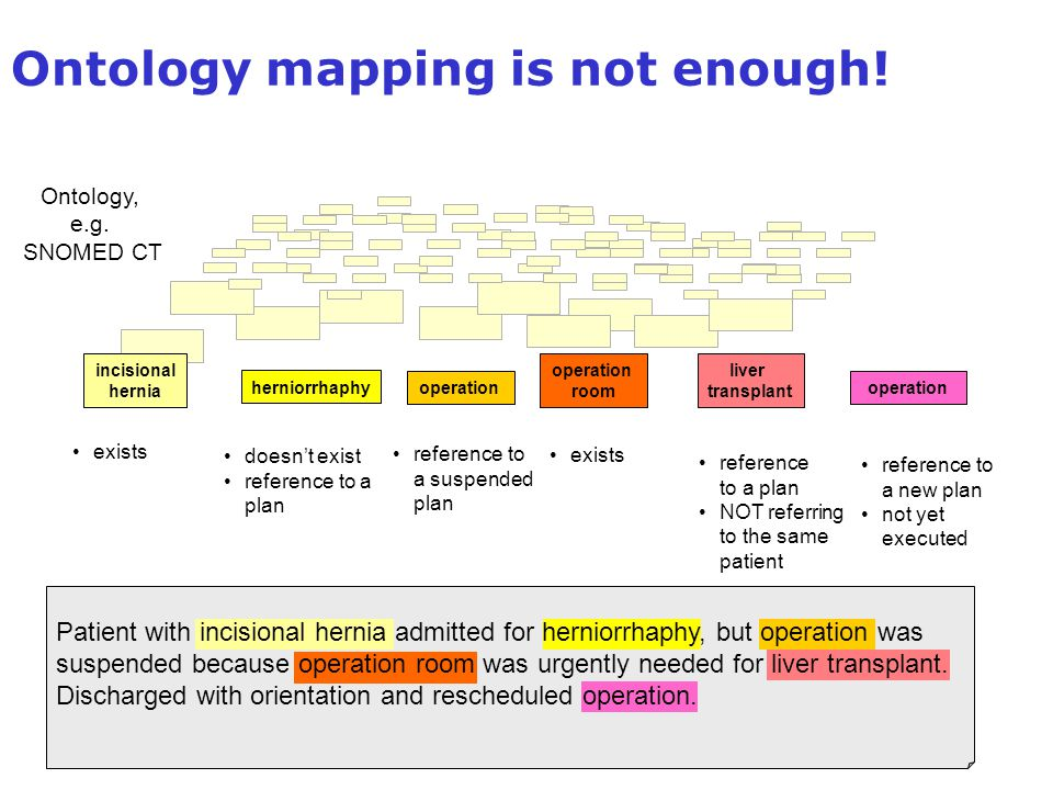 Ontology mapping is not enough! incisional hernia herniorrhaphy operation room liver transplant operation exists doesn't exist reference to a plan ope