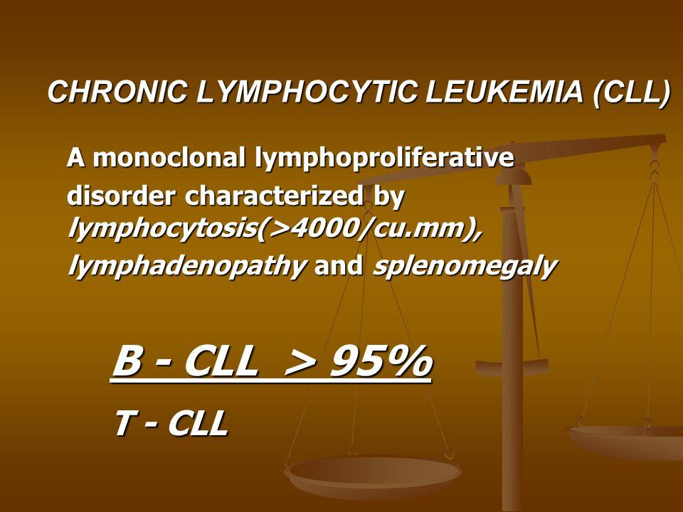 CHRONIC LYMPHOCYTIC LEUKEMIA (CLL) A monoclonal lymphoproliferative disorder characterized by lymphocytosis(>4000/cu.mm), lymphadenopathy and splenome