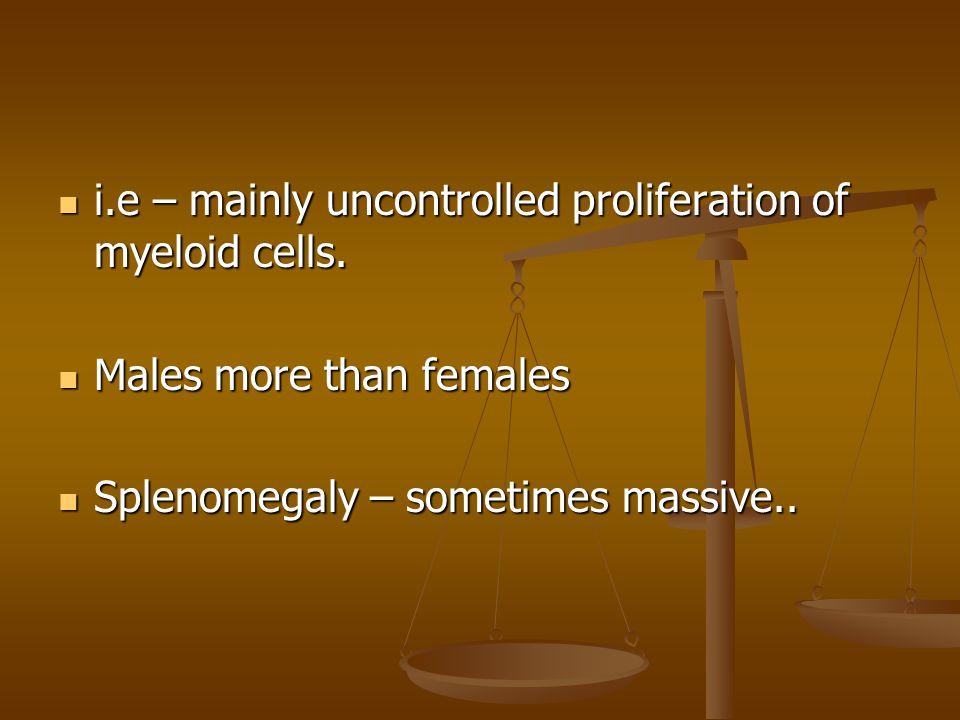 i.e – mainly uncontrolled proliferation of myeloid cells. i.e – mainly uncontrolled proliferation of myeloid cells. Males more than females Males more