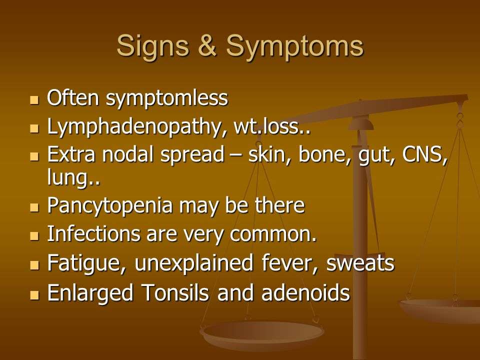 Signs & Symptoms Often symptomless Often symptomless Lymphadenopathy, wt.loss.. Lymphadenopathy, wt.loss.. Extra nodal spread – skin, bone, gut, CNS,