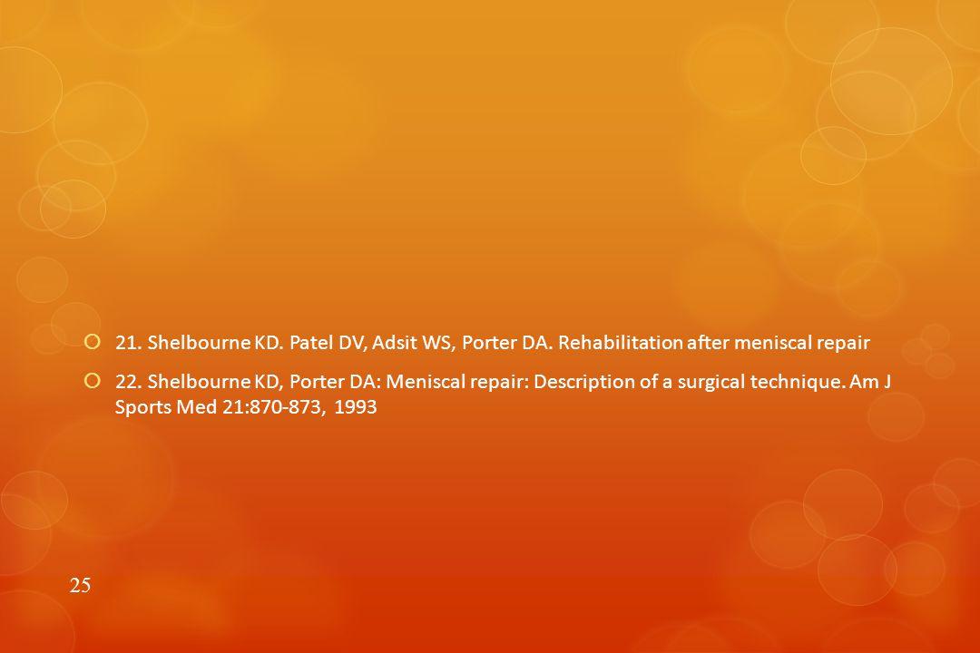  21. Shelbourne KD. Patel DV, Adsit WS, Porter DA.