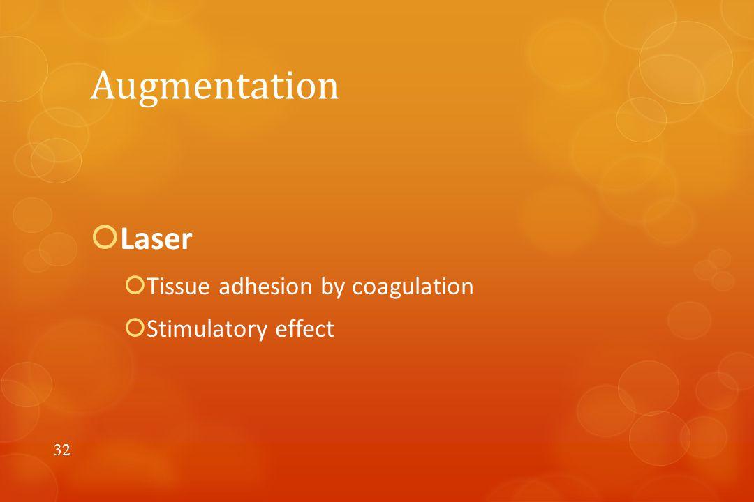 Augmentation  Laser  Tissue adhesion by coagulation  Stimulatory effect 32