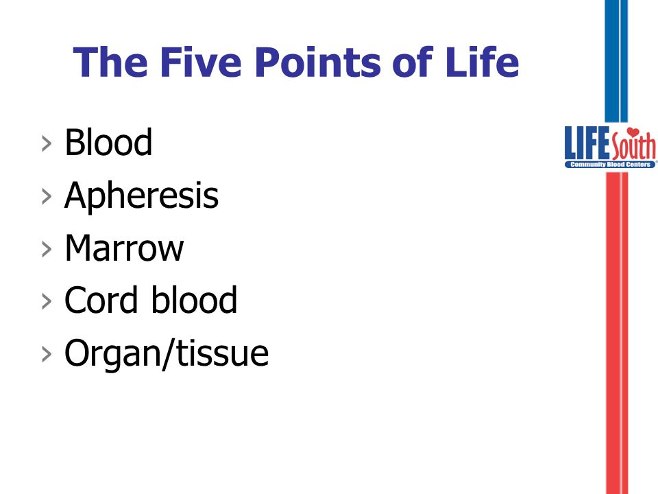The Five Points of Life ›Developed by LifeSouth in 1997 ›International program increasing awareness of the five ways we can share life with others.