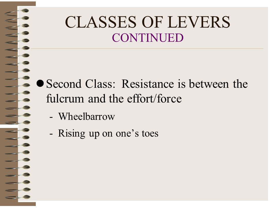 CLASSES OF LEVERS CONTINUED Second Class: Resistance is between the fulcrum and the effort/force -Wheelbarrow -Rising up on one's toes
