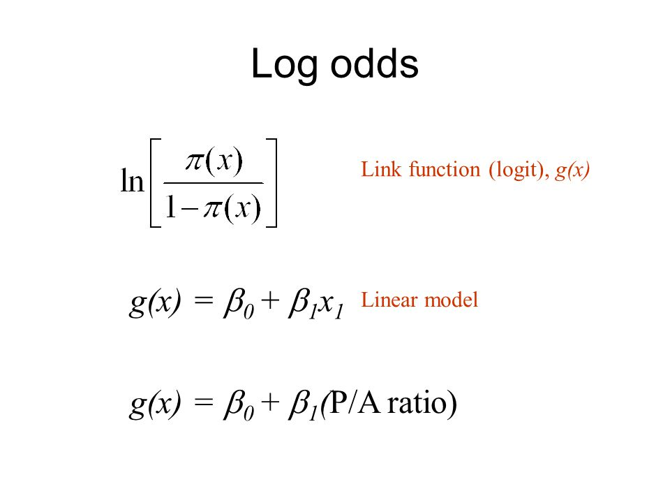 Log odds Link function (logit), g(x) g(x) =  0 +  1 x 1 Linear model g(x) =  0 +  1 (P/A ratio)