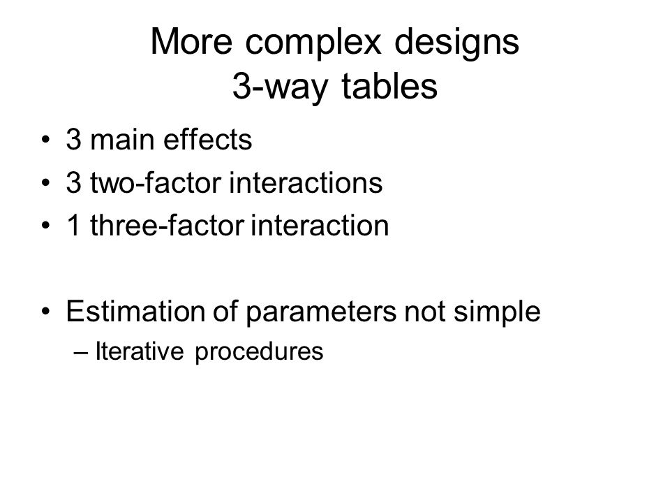More complex designs 3-way tables 3 main effects 3 two-factor interactions 1 three-factor interaction Estimation of parameters not simple –Iterative procedures