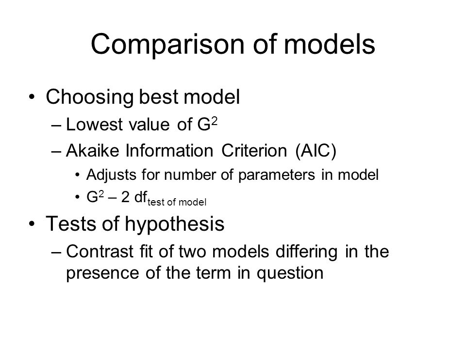 Comparison of models Choosing best model –Lowest value of G 2 –Akaike Information Criterion (AIC) Adjusts for number of parameters in model G 2 – 2 df test of model Tests of hypothesis –Contrast fit of two models differing in the presence of the term in question