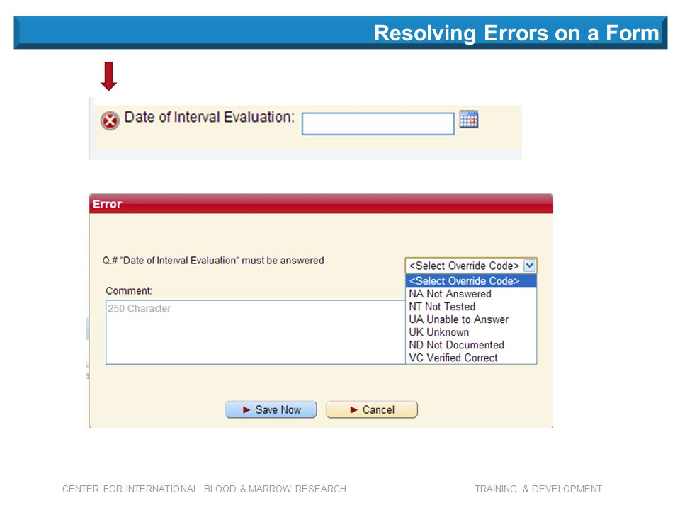 CENTER FOR INTERNATIONAL BLOOD & MARROW RESEARCH TRAINING & DEVELOPMENT Resolving Errors on a Form