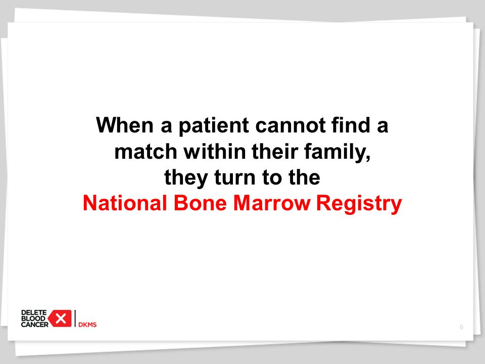 7 6 out of 10 patients can't find a bone marrow donor on the national registry.