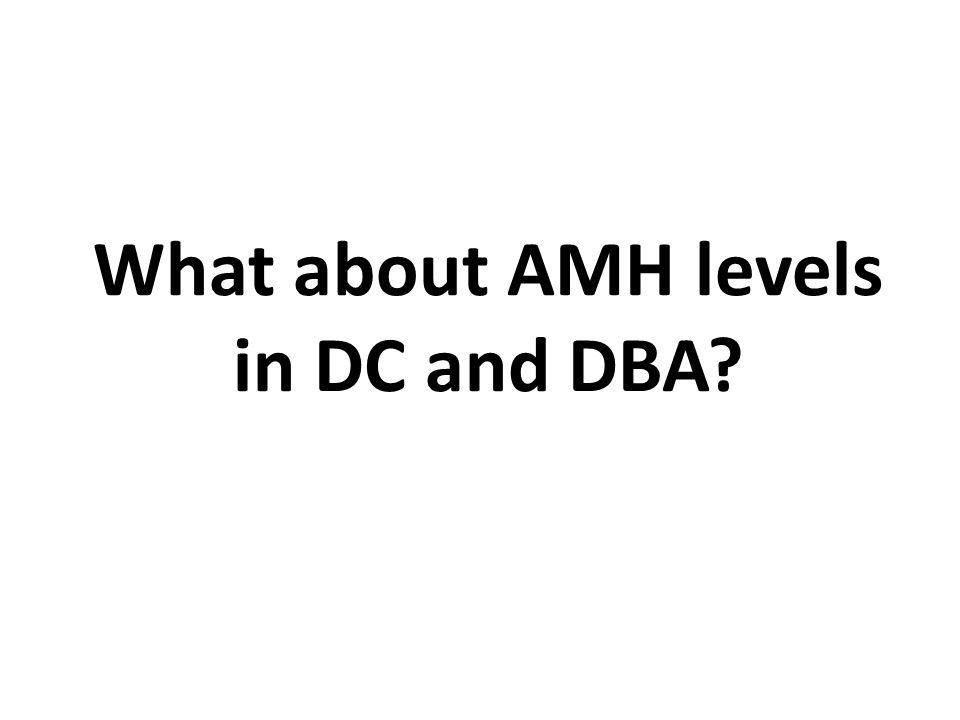 What about AMH levels in DC and DBA