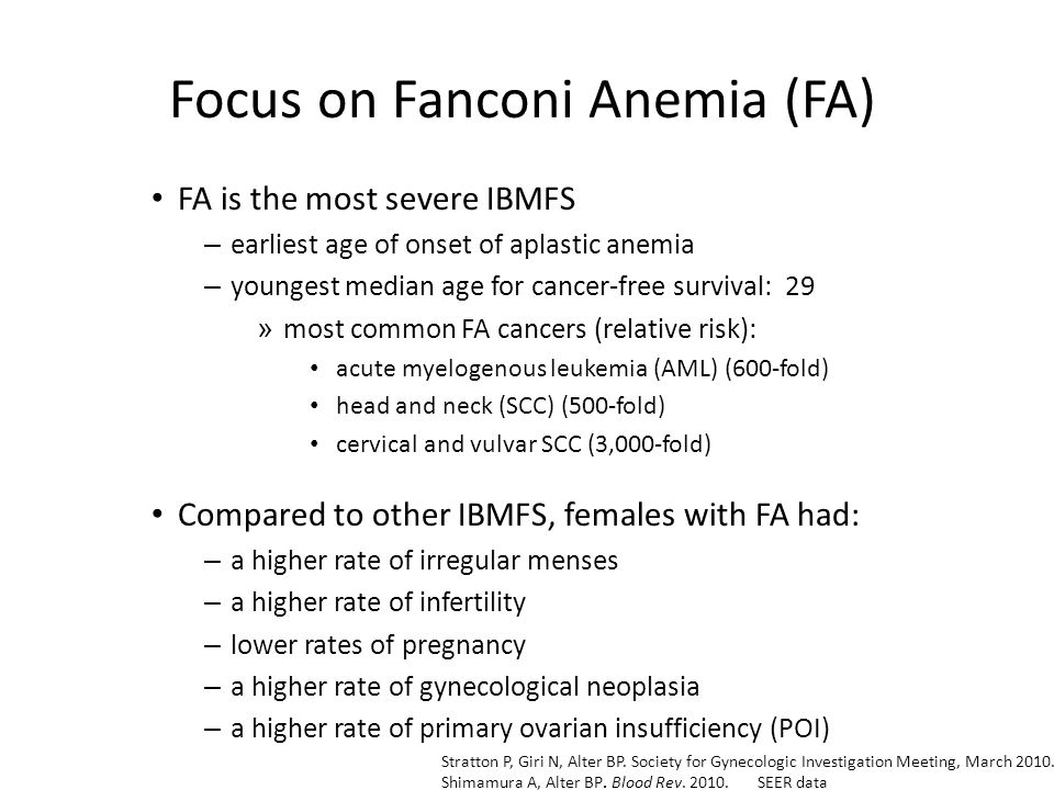 FA is the most severe IBMFS – earliest age of onset of aplastic anemia – youngest median age for cancer-free survival: 29 » most common FA cancers (relative risk): acute myelogenous leukemia (AML) (600-fold) head and neck (SCC) (500-fold) cervical and vulvar SCC (3,000-fold) Compared to other IBMFS, females with FA had: – a higher rate of irregular menses – a higher rate of infertility – lower rates of pregnancy – a higher rate of gynecological neoplasia – a higher rate of primary ovarian insufficiency (POI) Stratton P, Giri N, Alter BP.