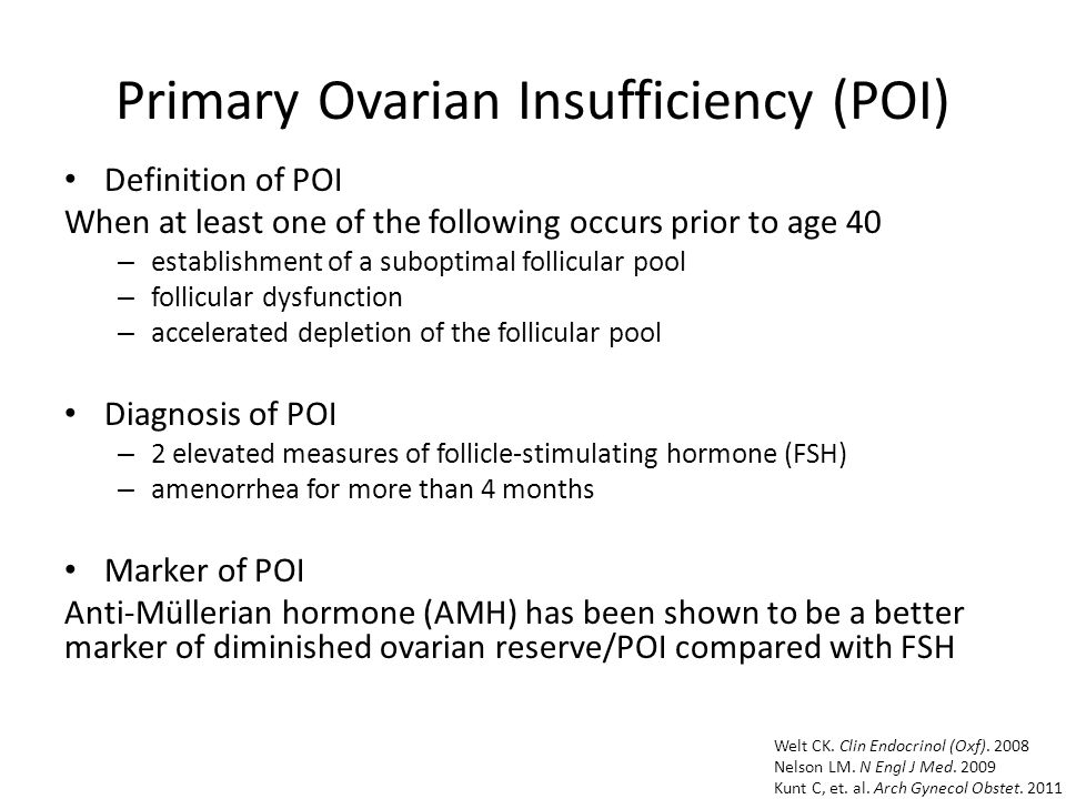 Primary Ovarian Insufficiency (POI) Definition of POI When at least one of the following occurs prior to age 40 – establishment of a suboptimal follicular pool – follicular dysfunction – accelerated depletion of the follicular pool Diagnosis of POI – 2 elevated measures of follicle-stimulating hormone (FSH) – amenorrhea for more than 4 months Marker of POI Anti-Müllerian hormone (AMH) has been shown to be a better marker of diminished ovarian reserve/POI compared with FSH Welt CK.