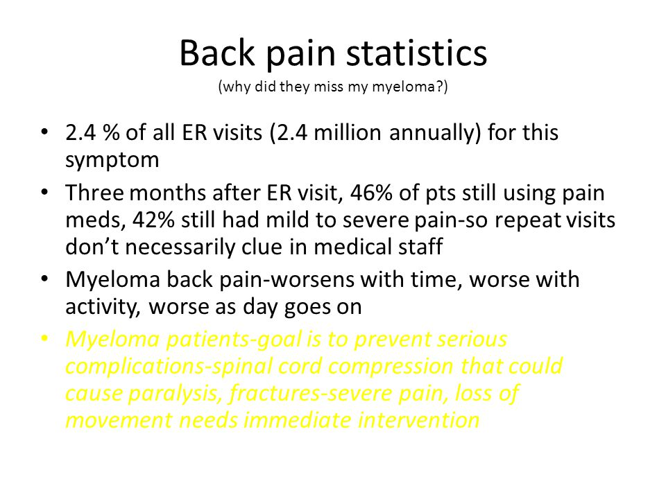 Back pain statistics (why did they miss my myeloma ) 2.4 % of all ER visits (2.4 million annually) for this symptom Three months after ER visit, 46% of pts still using pain meds, 42% still had mild to severe pain-so repeat visits don't necessarily clue in medical staff Myeloma back pain-worsens with time, worse with activity, worse as day goes on Myeloma patients-goal is to prevent serious complications-spinal cord compression that could cause paralysis, fractures-severe pain, loss of movement needs immediate intervention