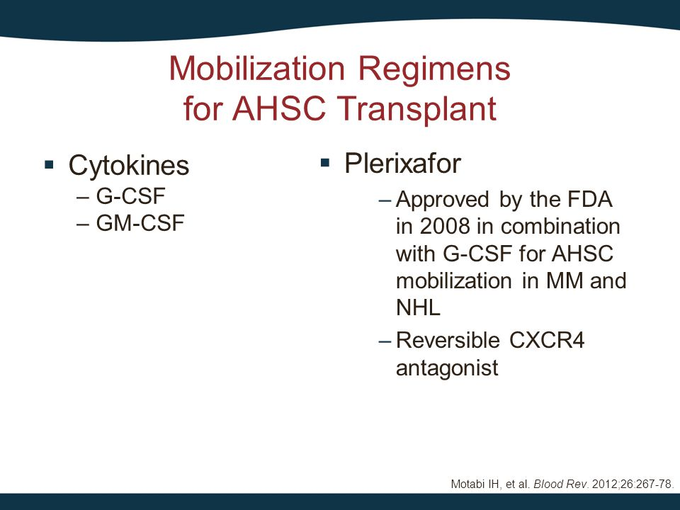  Cytokines – G-CSF – GM-CSF Mobilization Regimens for AHSC Transplant  Plerixafor –Approved by the FDA in 2008 in combination with G-CSF for AHSC mo