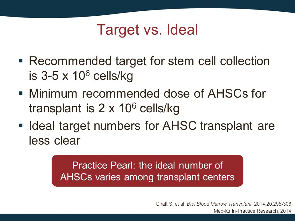 Giralt S, et al. Biol Blood Marrow Transplant. 2014;20:295-308; Med-IQ In-Practice Research, 2014. Target vs. Ideal  Recommended target for stem cell