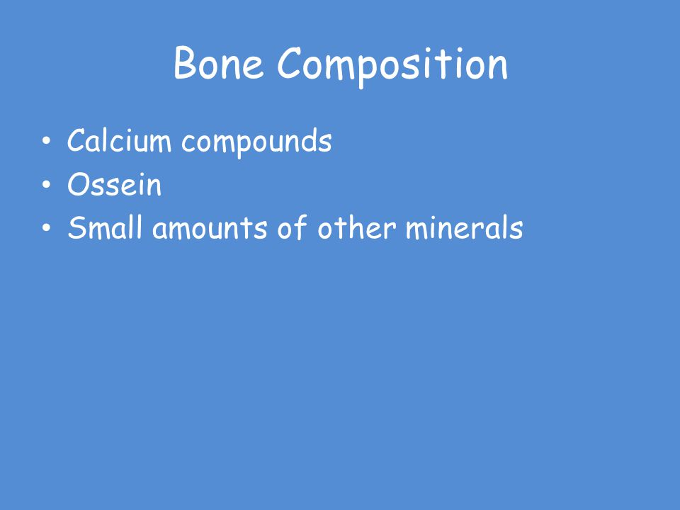 Bone Composition Calcium compounds Ossein Small amounts of other minerals