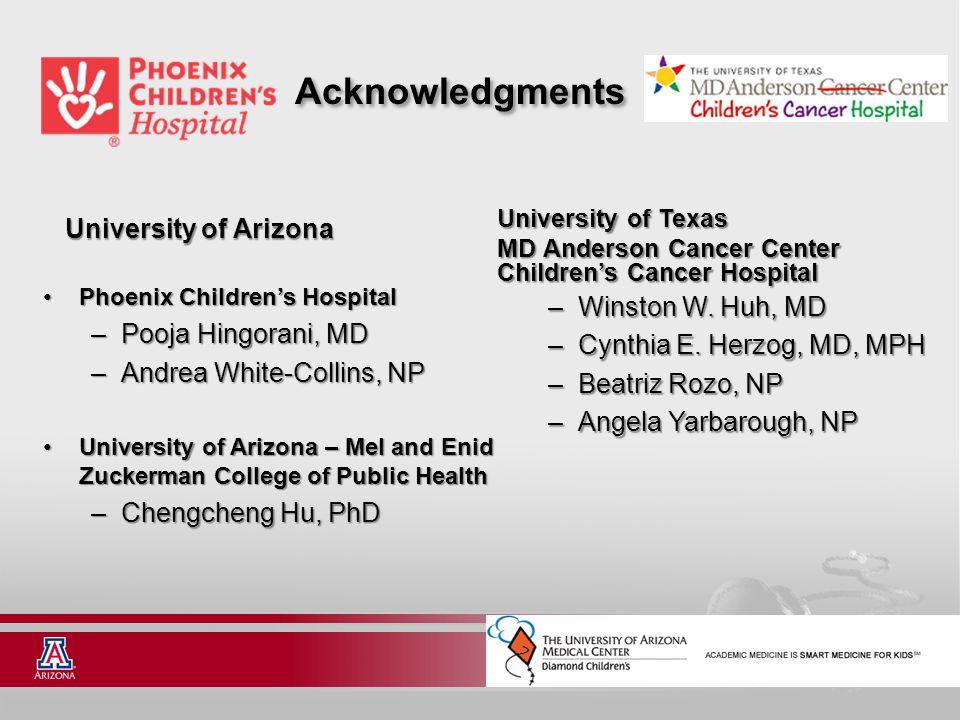 Acknowledgments University of Arizona Phoenix Children's Hospital – Pooja Hingorani, MD – Andrea White-Collins, NP University of Arizona – Mel and Eni