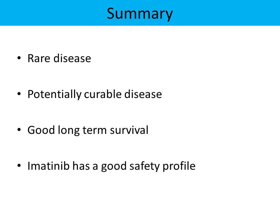 Summary Rare disease Potentially curable disease Good long term survival Imatinib has a good safety profile