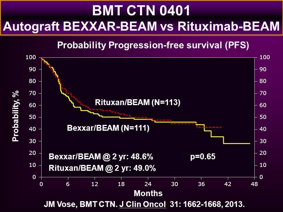 Probability, % Months 0122448 100 0 20 40 60 80 90 10 30 50 70 0 100 20 40 60 80 90 10 30 50 70 618303642 Rituxan/BEAM (N=113) Bexxar/BEAM (N=111) Bex