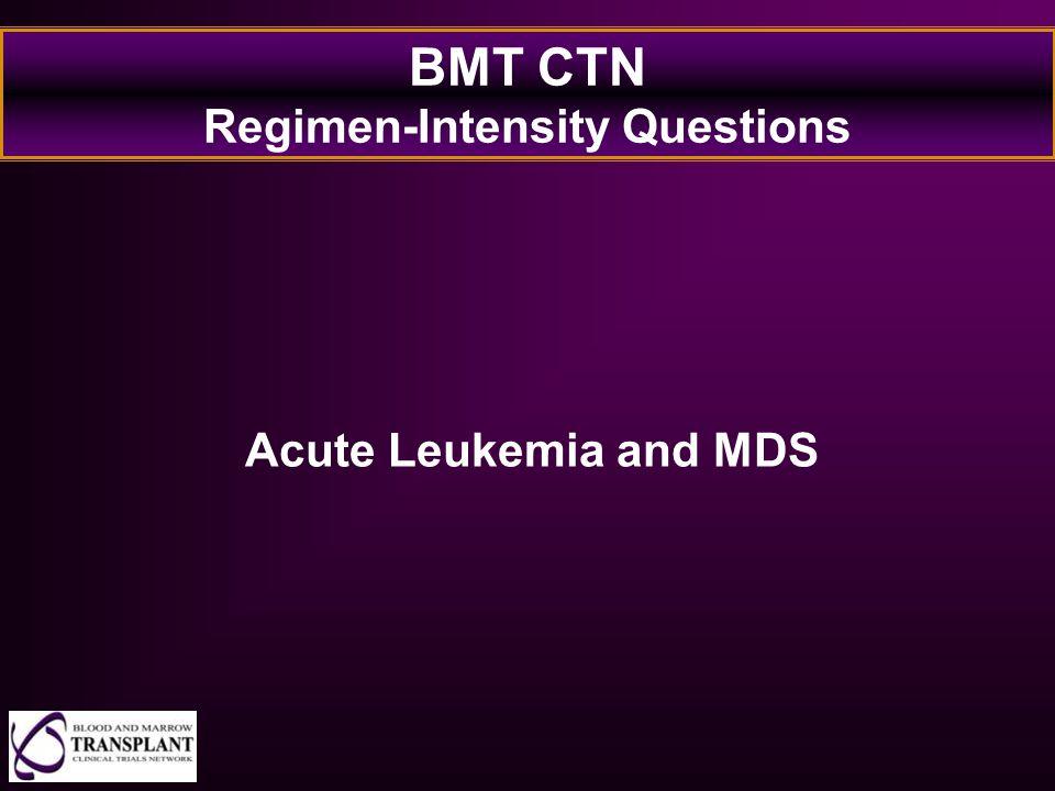 BMT CTN Regimen-Intensity Questions Acute Leukemia and MDS