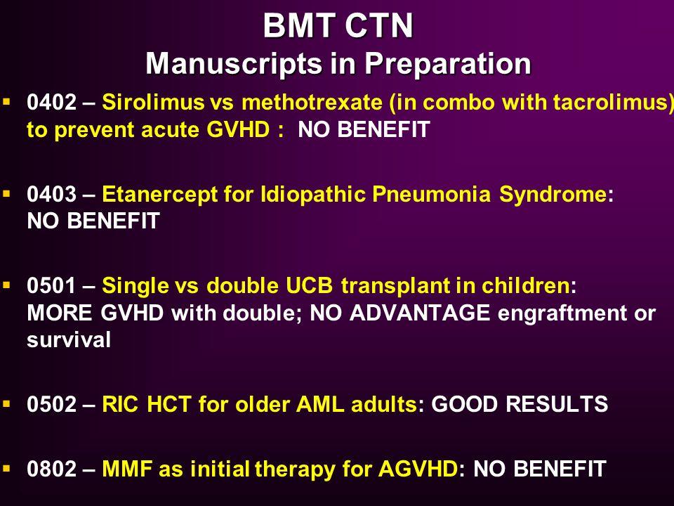 BMT CTN Manuscripts in Preparation  0402 – Sirolimus vs methotrexate (in combo with tacrolimus) to prevent acute GVHD : NO BENEFIT  0403 – Etanercep