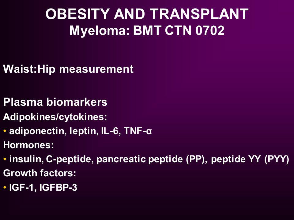 OBESITY AND TRANSPLANT Myeloma: BMT CTN 0702 Waist:Hip measurement Plasma biomarkers Adipokines/cytokines: adiponectin, leptin, IL-6, TNF-α Hormones: