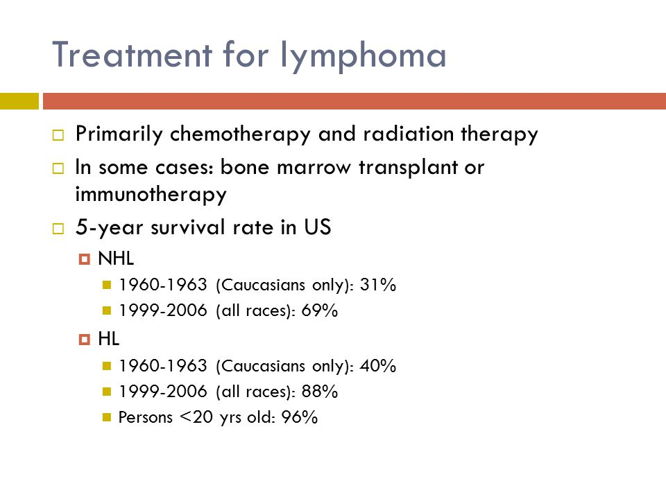 Treatment for lymphoma  Primarily chemotherapy and radiation therapy  In some cases: bone marrow transplant or immunotherapy  5-year survival rate in US  NHL 1960-1963 (Caucasians only): 31% 1999-2006 (all races): 69%  HL 1960-1963 (Caucasians only): 40% 1999-2006 (all races): 88% Persons <20 yrs old: 96%