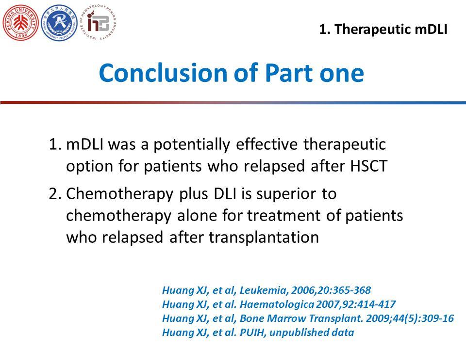 A B C D Chemotherapy + DLI Chemotherapy alone P=0.016 P=0.000 2-4 acute GVHD Chronic GVHD Relapse Leukemia free survival Huang, et al. PUIH, unpublish